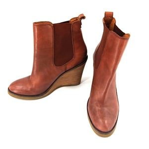 LUCKY BRAND brown leather wedge ankle Boots